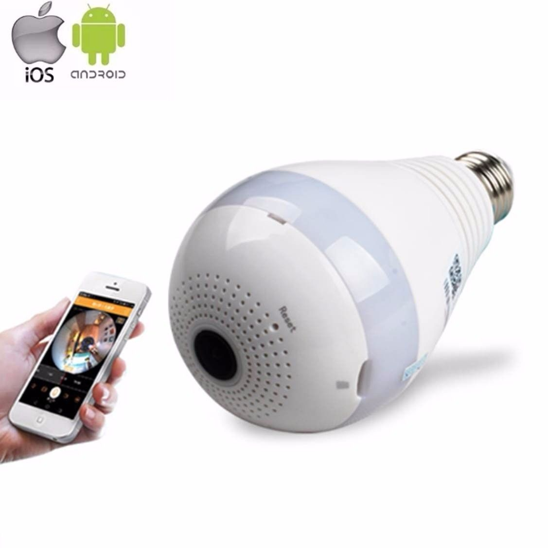 Câmera Lâmpada Espiã Wifi 960P Hd IP Led  Panorâmica Vr 360º com Áudio