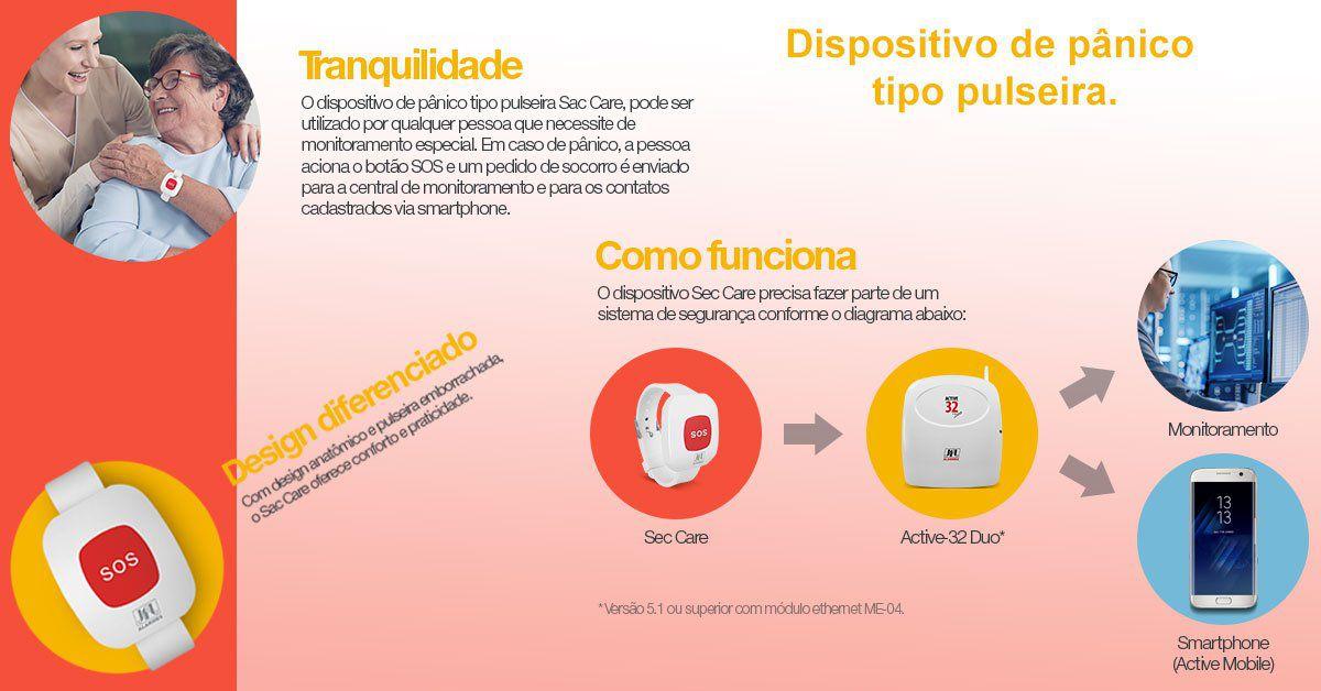 Dispositivo de Pânico (SOS) Tipo Pulseira - Sec Care JFL