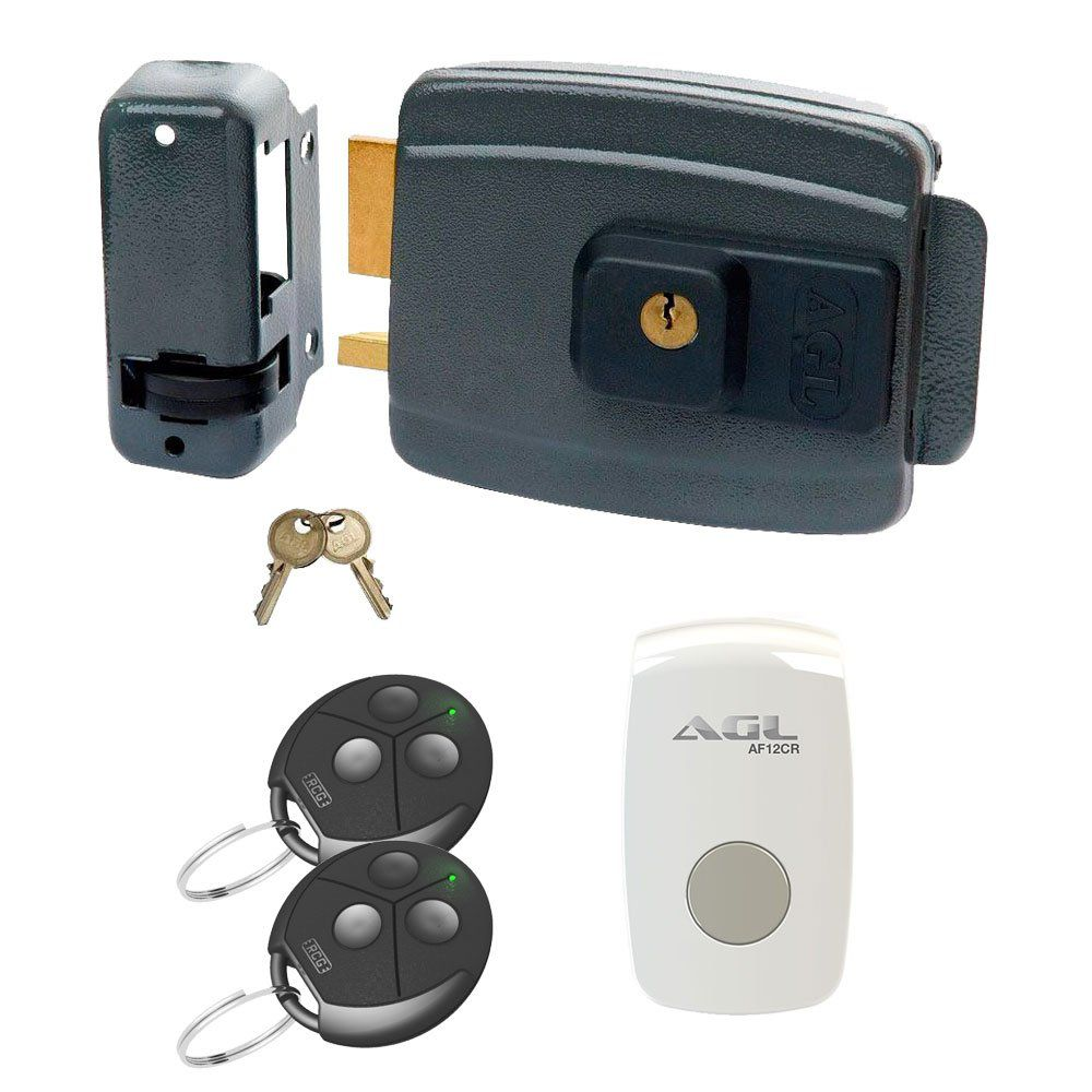 Kit Acionamento por Controle + Fechadura Elétrica + 2 Controles