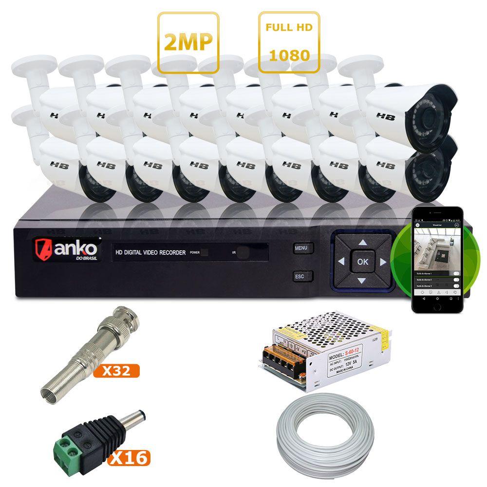 Kit Dvr 16 Canais + 16 Câmeras Full HD ( 2MP - 1080P) + Acessórios