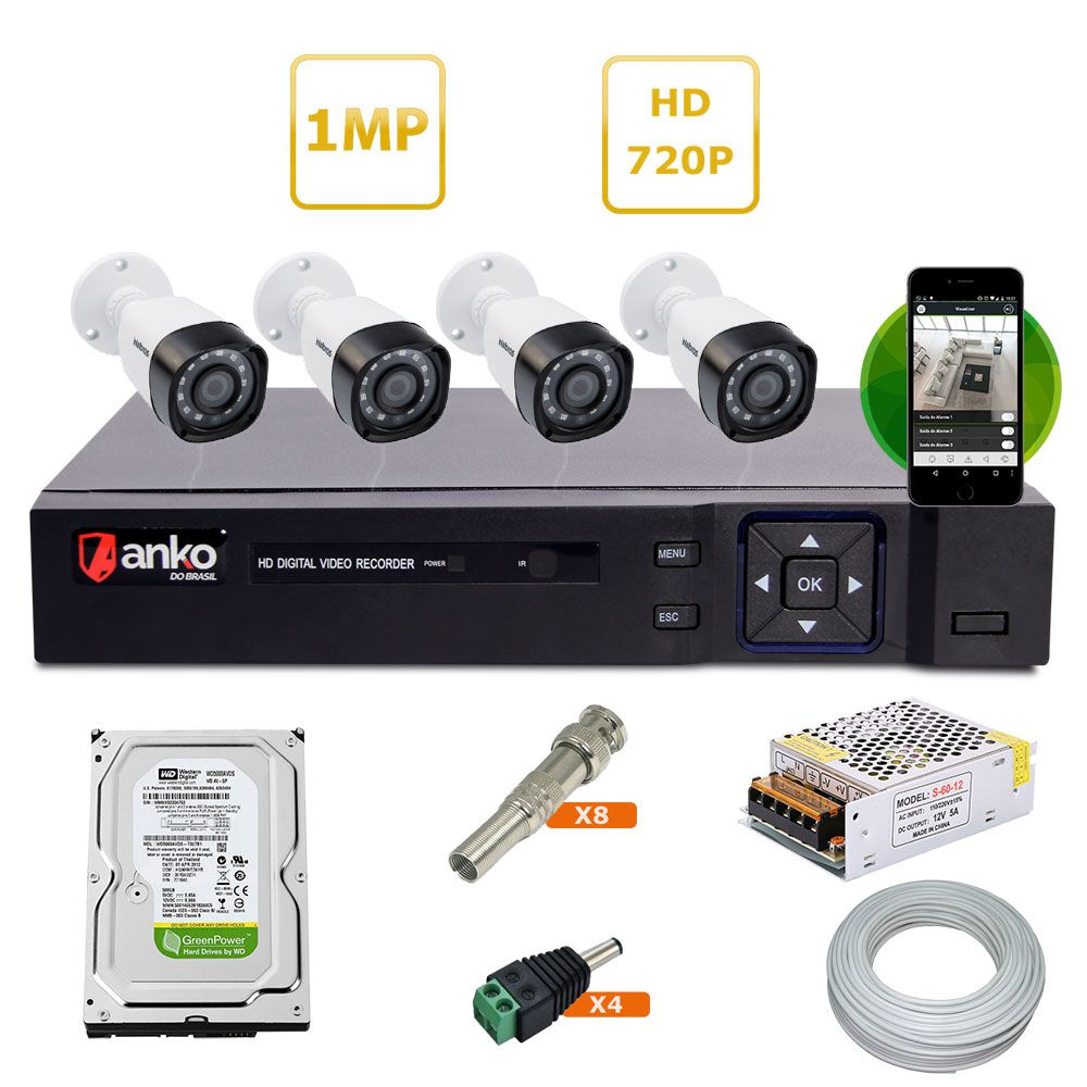 Kit Dvr 4 Canais + 4 Câmeras HD 720P + HD 500 GB + Acessórios