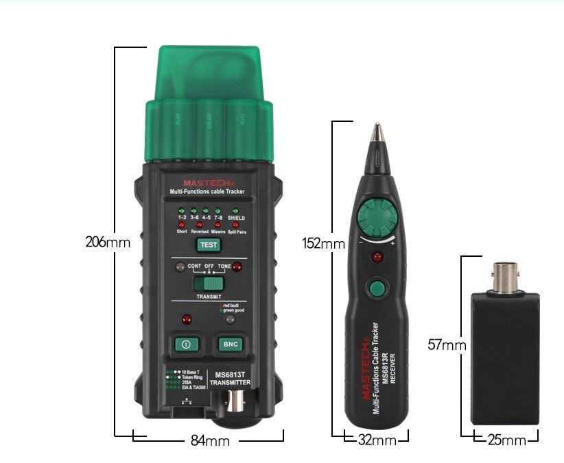 Kit Testador e Localizador Multifuncional para Cabos de Rede, Telefone e BNC