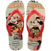 Chinelo Havaianas Original Feminino Masculino Disney Stylish Mickey e Minnie Vermelho com Creme