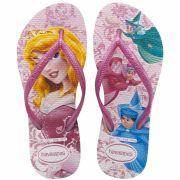 Chinelo Infantil Havaianas Kids Slim Princesa Aurora A Bela Adormecida Rosa Cream com Rosa
