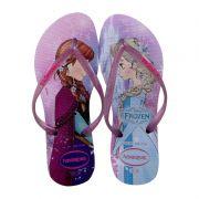 Chinelo Infantil Havaianas Kids Princesas Frozen Anna e Elsa Lilás