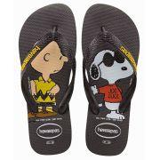 Chinelo Havaianas Original Feminino Masculino Snoopy Charlie Brown Preto
