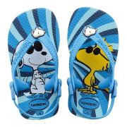 Sandália Bebê Havaianas Infantil Baby Snoopy e Woodstock Azul Turquesa