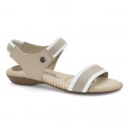Sandália Modare Feminino Elástico Napa Sense Flex 7025334 Bege com Branco