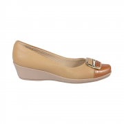 Sapato Anabela Piccadilly Relax Verniz 144039 Bege/Ocre