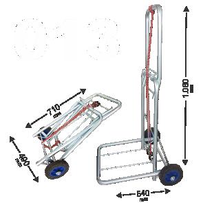 Carrinho de Bagagens Capacidade até 130 kg dobravel Acompanha elastico 1,5m