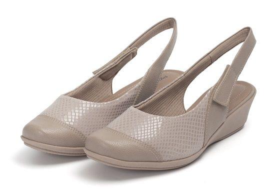 Sapato Chanel Anabela Piccadilly Velcro Elastano 144055 Areia Cobra Sola Bege ELT COB
