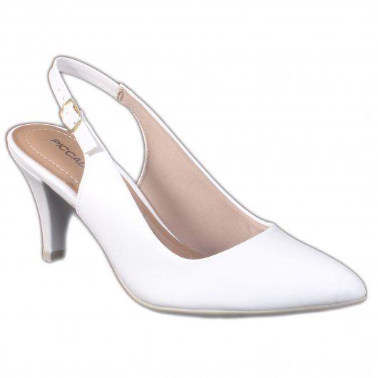 Chanel Piccadilly Feminino 745063 Napa Branco Salto Forrado
