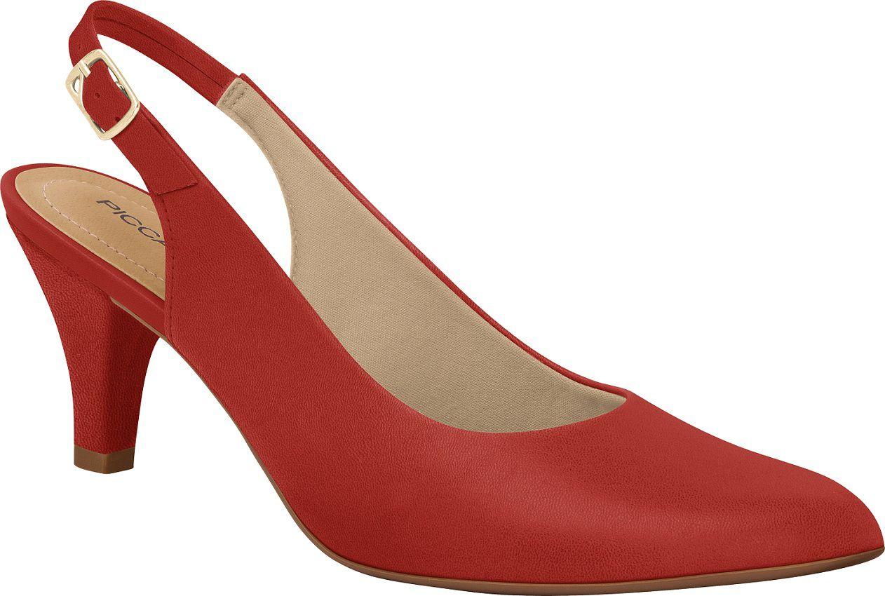 Chanel Piccadilly Feminino 745063 Napa Vermelho Salto Forrado