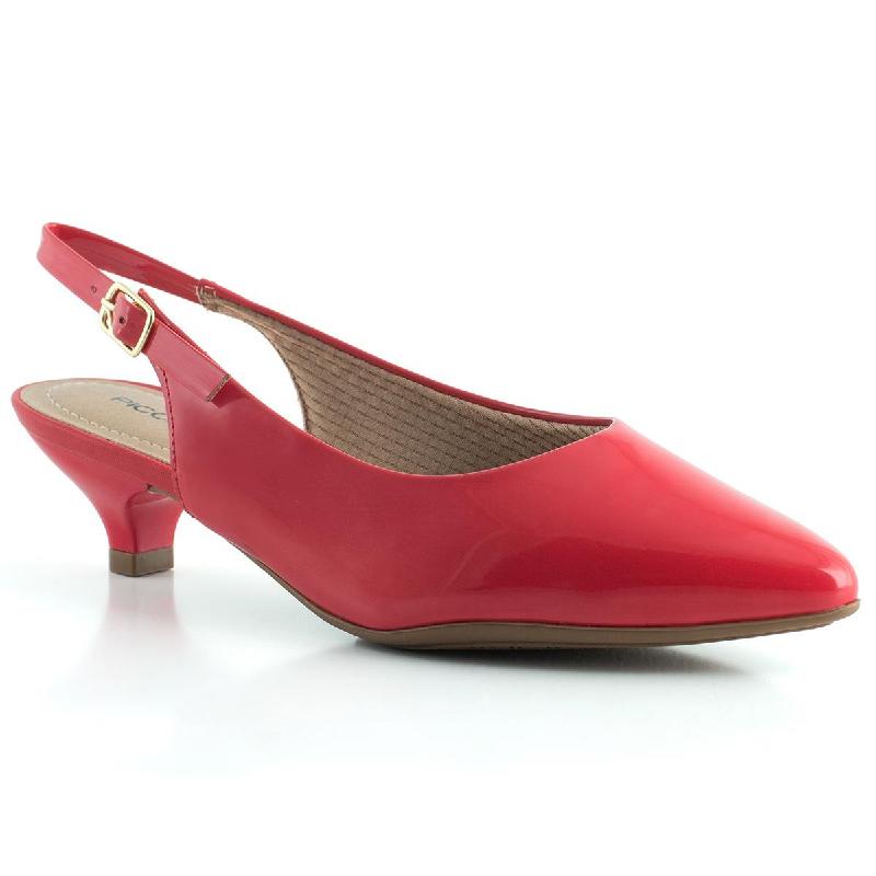 Chanel Piccadilly Salto Médio Bico Fino Verniz Vermelho 275001
