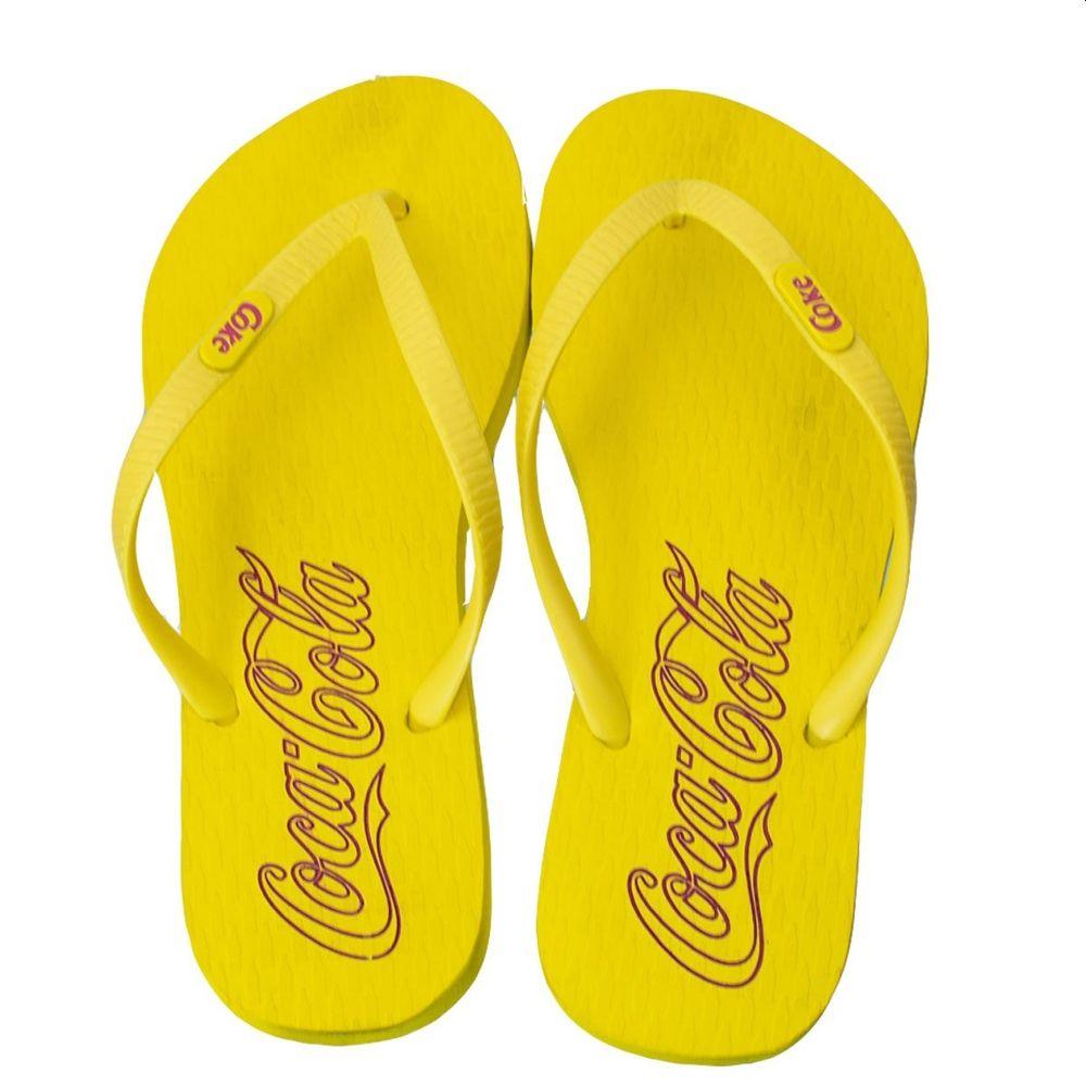Chinelo Feminino Coca-Cola Oficial Amarelo