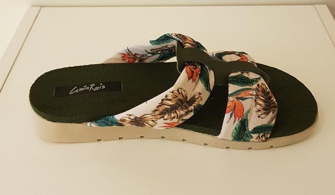 Chinelo Feminino Flatform Rezzerve - Marfim/Oliva/Marfim Floral - 8302