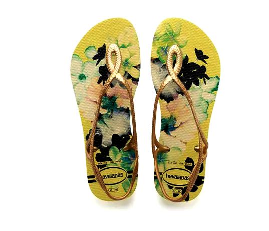 Chinelo Feminino Havaianas Luna Print Amarelo Polen