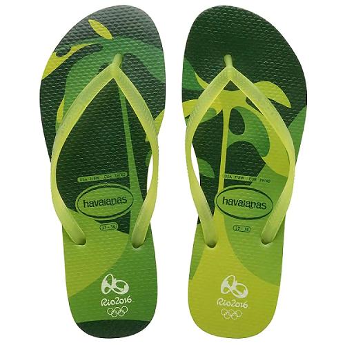 Chinelo Havaianas Feminino Oficial Olimpíadas Rio 2016 Slim Carioca Verde Limão