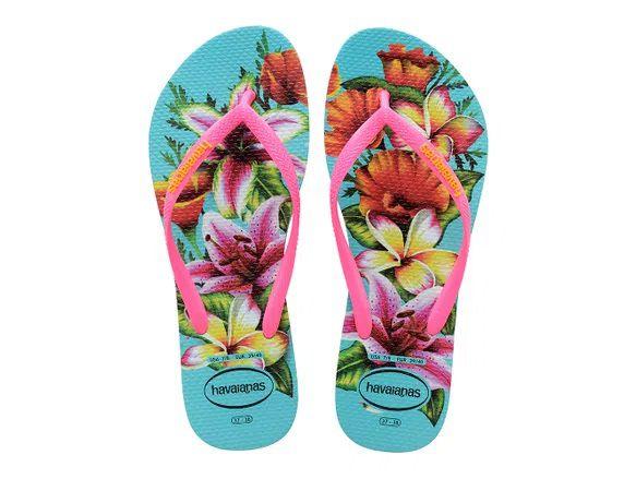 Chinelo Feminino Havaianas Slim Floral Azul