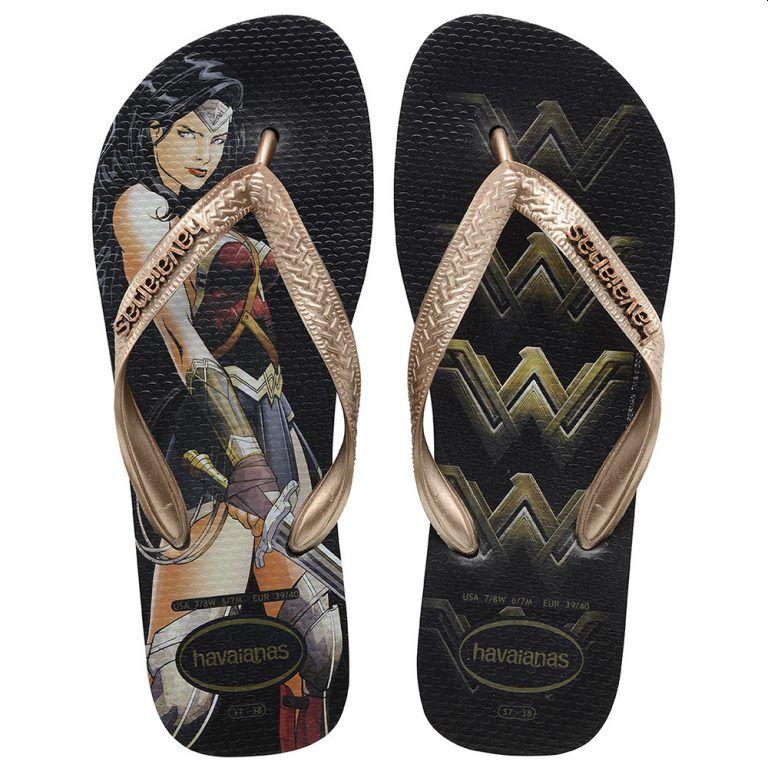 Chinelo Havaianas Feminino Batman Vs Superman Mulher Maravilha Preto/Rose Gold