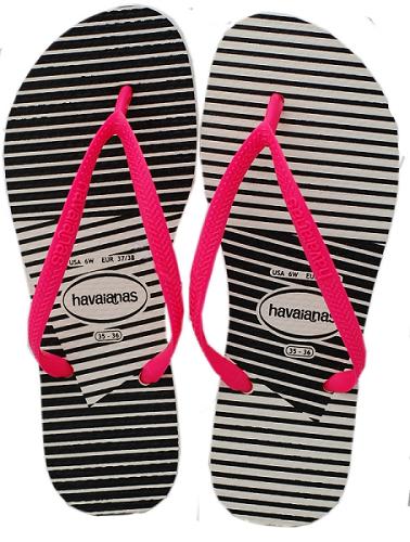 Chinelo Havaianas Feminino Slim Graphic Branco com Pink