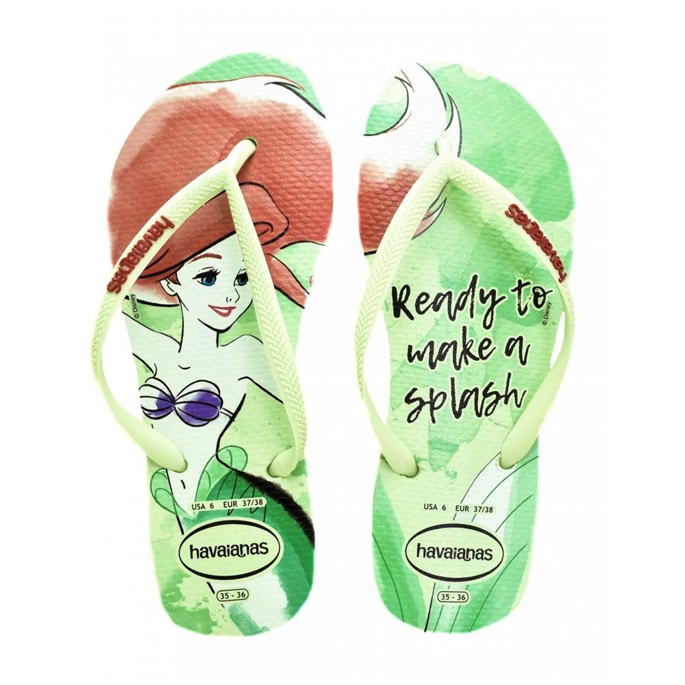 Chinelo Havaianas Feminino Slim Princesas Pequena Sereia Ariel Verde Maçã