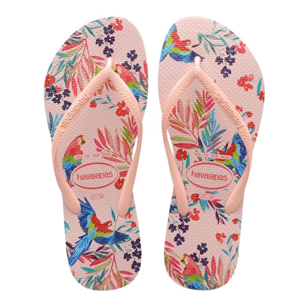 Chinelo Havaianas Feminino Slim Tropical Floral Rosa Ballet
