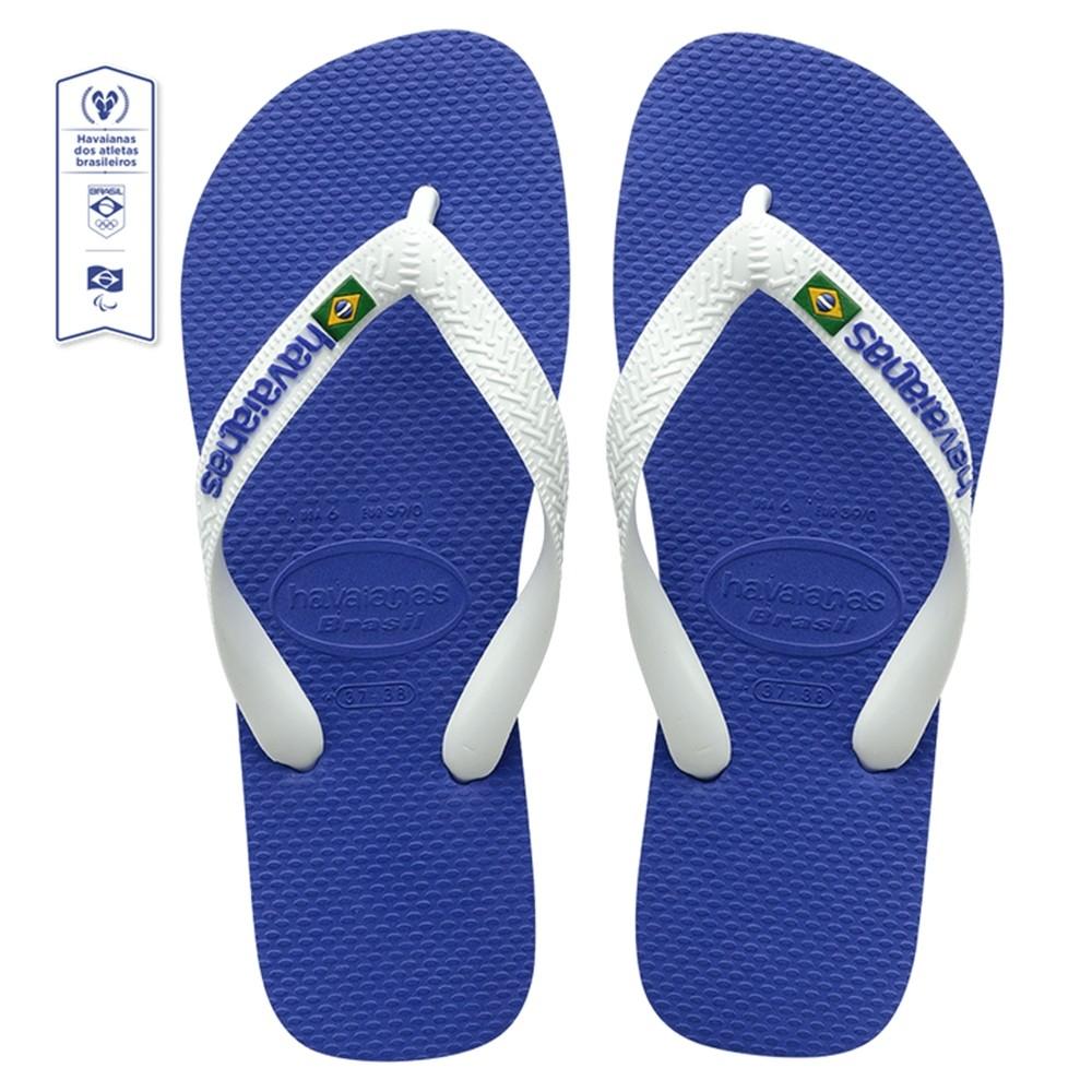 Chinelo Havaianas Infantil Brasil Logo Azul Naval