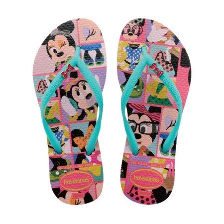 Chinelo Havaianas Infantil Kids Disney Cool Minnie Maravilha com Verde Limão