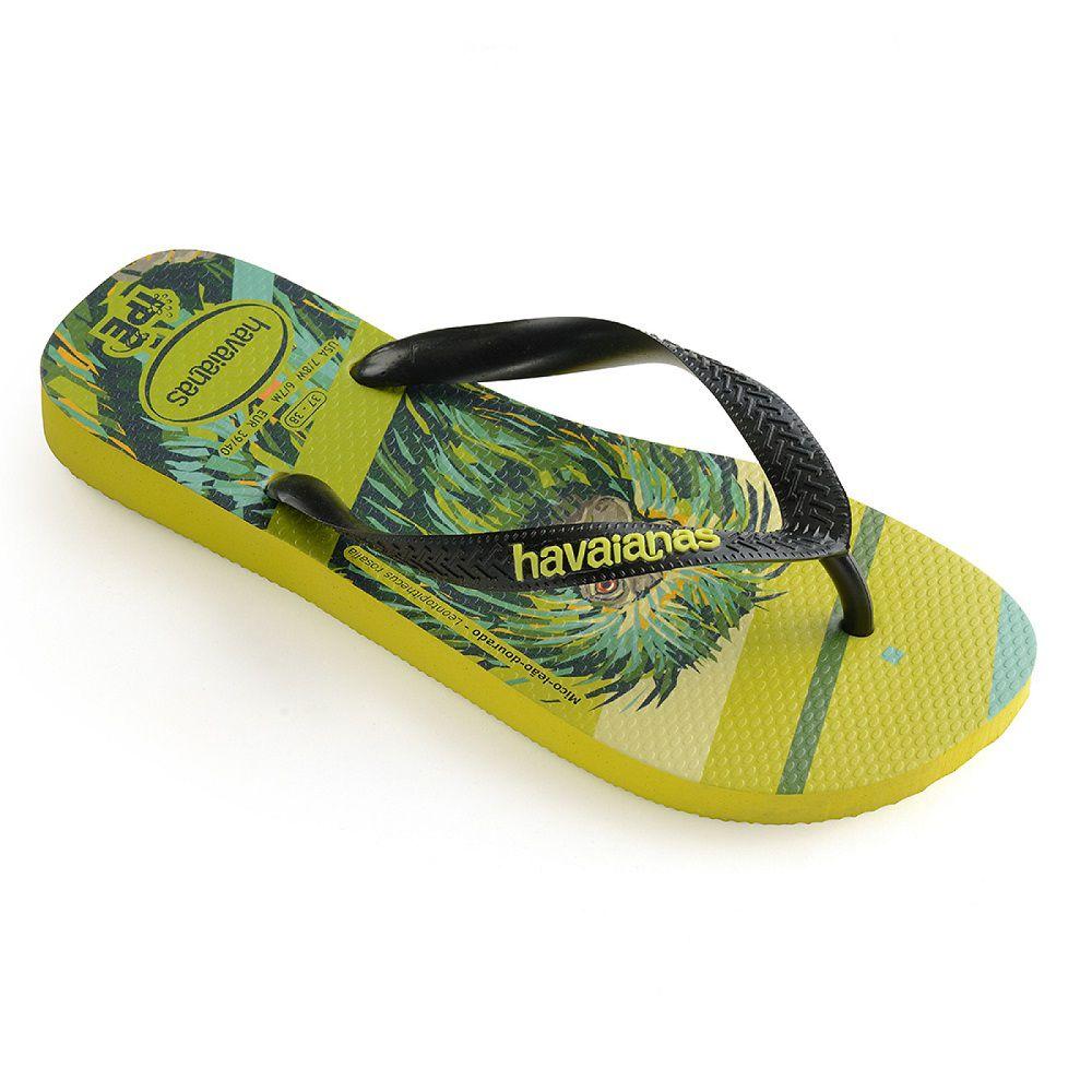 Chinelo Havaianas Original Feminino Masculino Ipê Estampada Mico-leão Amarelo Neon com Preto