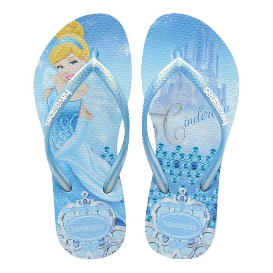 Chinelo Havaianas Infantil Princesas Cinderela Azul Lavanda