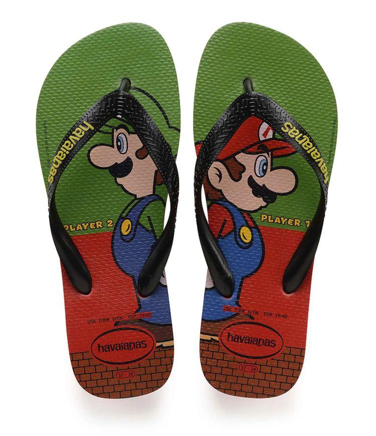 Chinelo Havaianas Masculino Mario Bros e Luigi