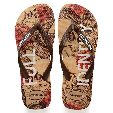 Chinelo Havaianas Masculino Top Tropical Bege com Marrom