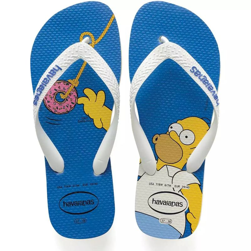Chinelo Havaianas Unissex Os Simpsons Homer Branco com Branco