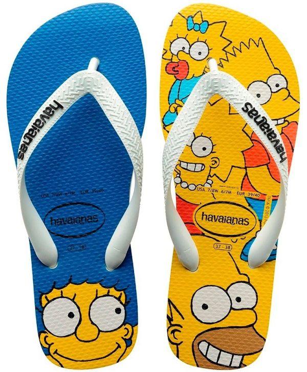 Chinelo Havaianas Unissex Os Simpsons Homer, Marge, Lisa e Bart