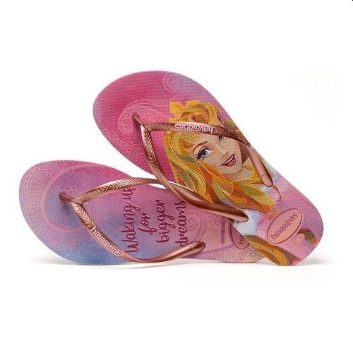 Chinelo Havaianas Slim Princesas Aurora Bela Adormecida Rosa Cream