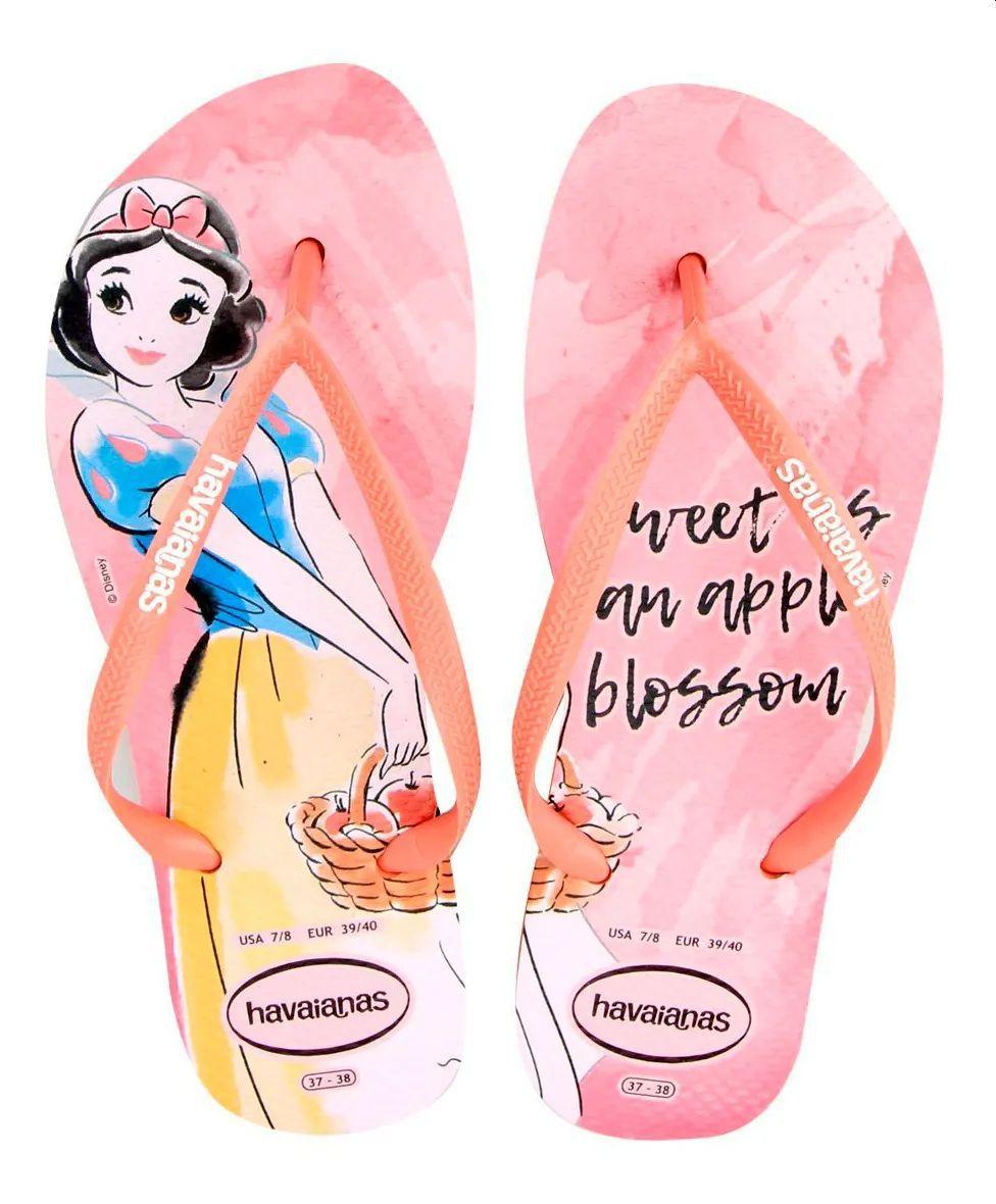 Chinelo Feminino Havaianas Princesas Disney A Branca de Neve  Slim Nude Rosa