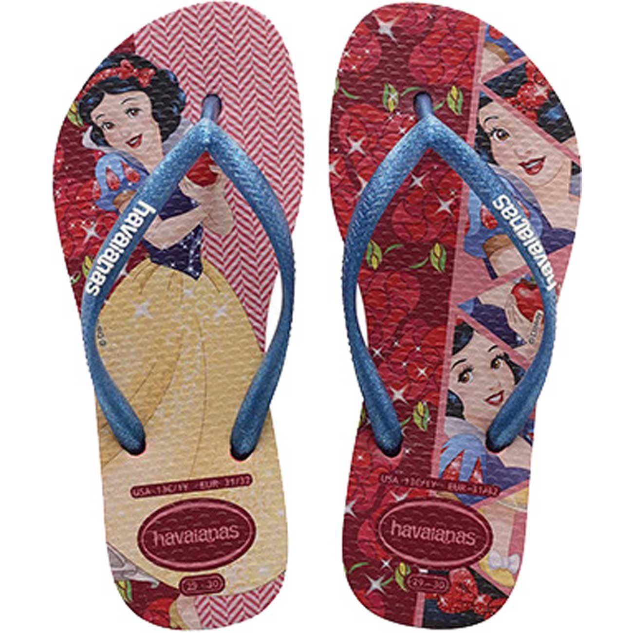 Chinelo Infantil Havaianas Slim Princesas Disney A Branca de Neve Vermelho Rubi