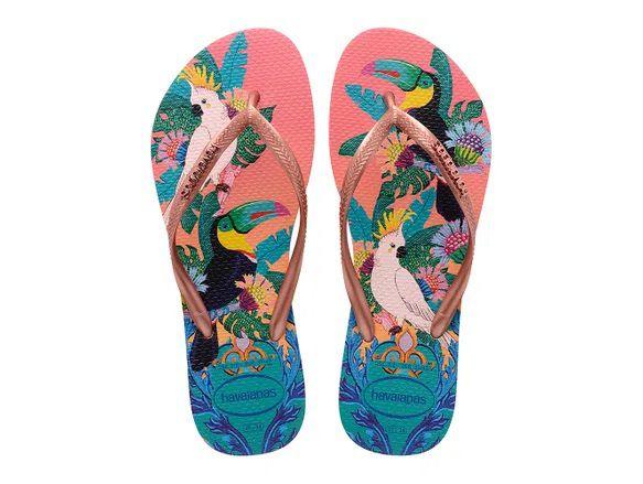 Chinelo Havaianas Feminino Slim Tropical Rosa Seda