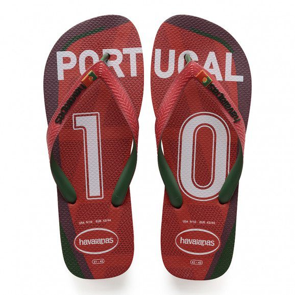 Chinelo Havaianas Unissex Teams III Portugal Vermelho Rubi
