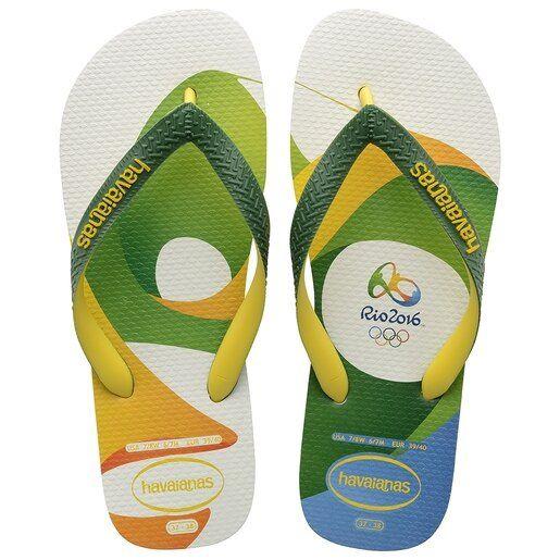 Chinelo Havaianas Unissex Top Rio 2016 Branco Com Verde