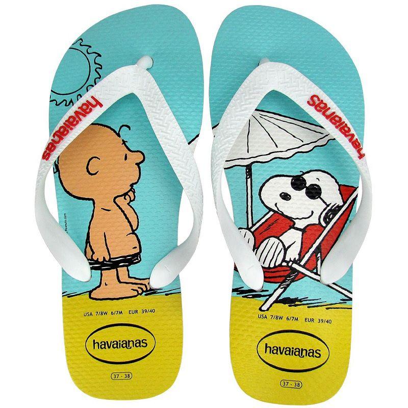 Chinelo Havaianas Unissex Snoopy e Charlie Brown Branco com Branco