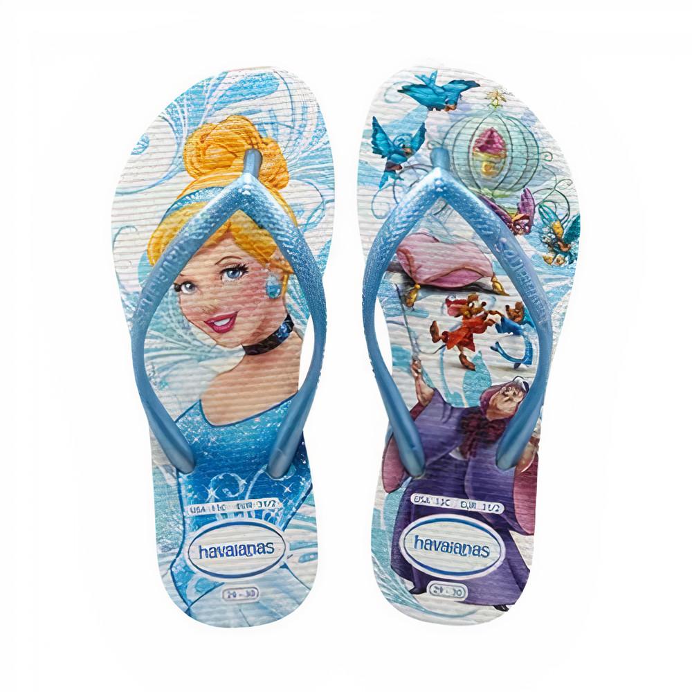 Havaianas Chinelo Kids Slim Princesa Cinderela Branco/Azul Claro