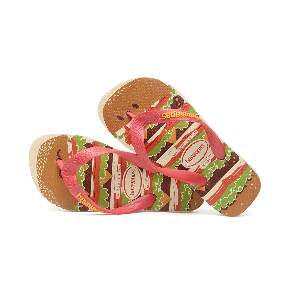 Chinelo Infantil Havaianas Kids Top Fast Food Hamburger Bege Palha e Vermelho