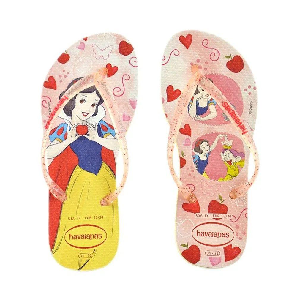 Chinelo Infantil Havaianas Slim Princesas Disney A Branca de Neve Amarelo Limão
