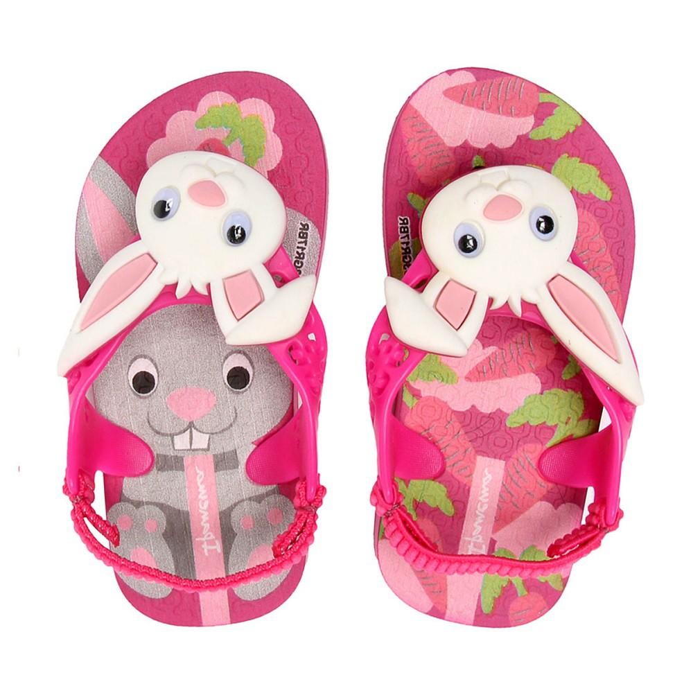 Chinelo Ipanema Bebê Minha Primeira Ipanema Coelho Rosa com Rosa e Branco
