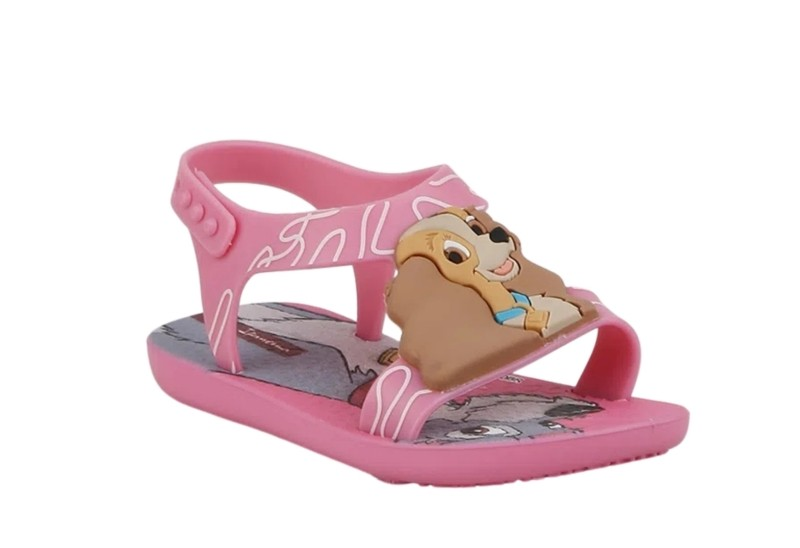 Sandália A Dama e o Vagabundo Ipanema Clássicos Disney Baby Rosa/Rosa/Castor