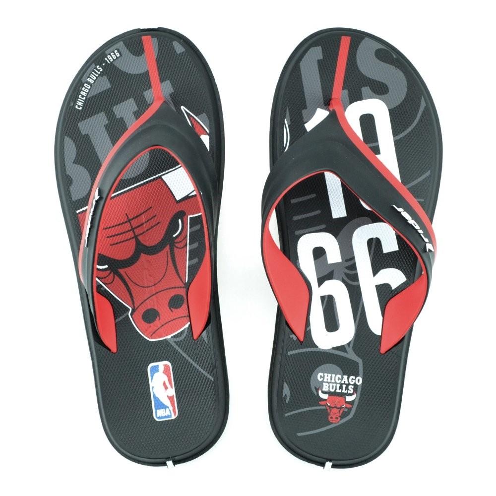 Chinelo Masculino Adulto Rider R Line NBA Chicago Bulls Preto/Vermelho