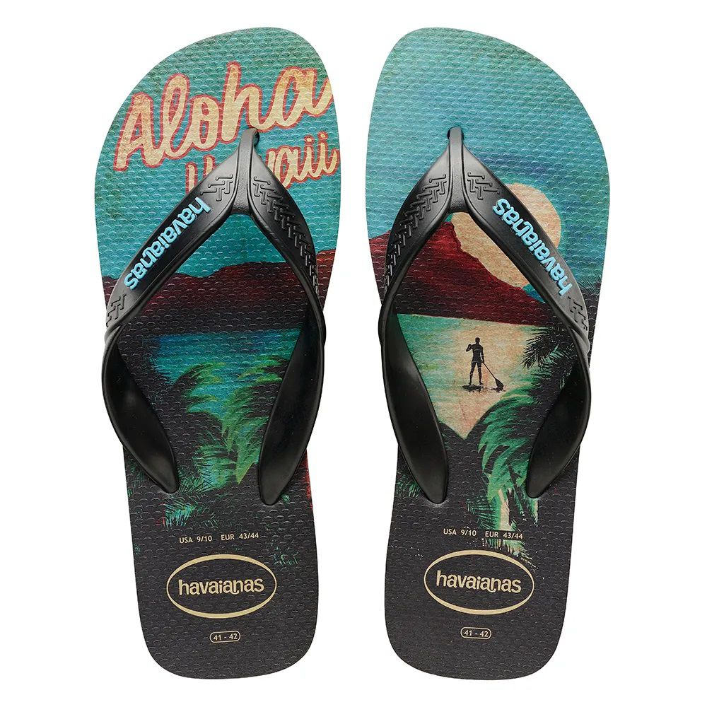 Chinelo Masculino Havaianas Surf Preto e Turquesa