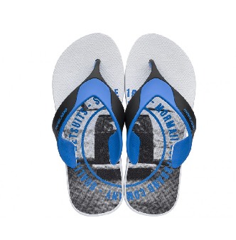 Chinelo Mormaii Masculino NeoCycle Branco, Preto com Azul